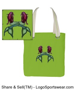 Lime Green Double Mermaid medium tote Design Zoom